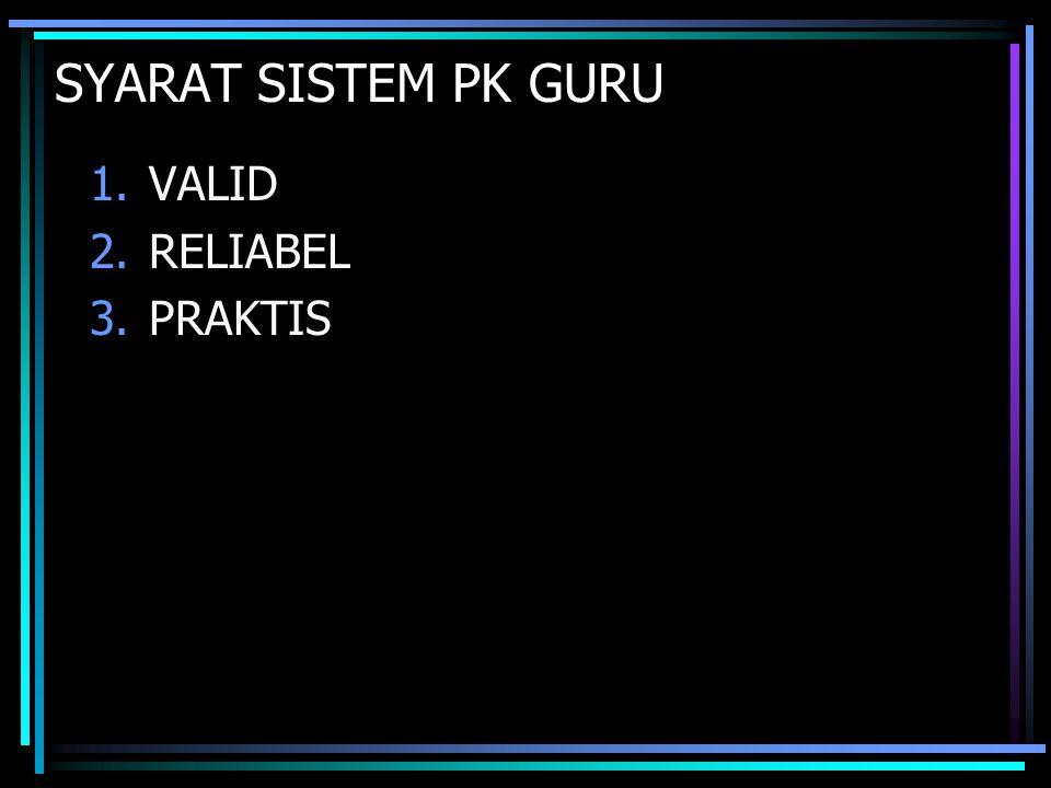 SYARAT SISTEM PK GURU 1.VALID 2.RELIABEL 3.PRAKTIS