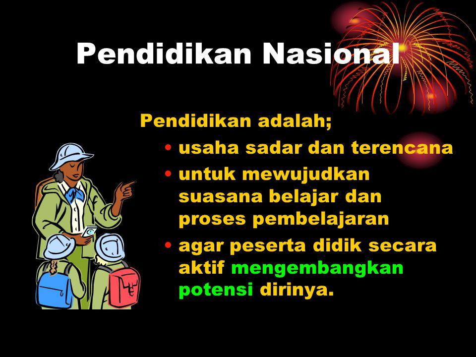 Pendidikan Nasional Peserta Didik Memiliki kekuatan spiritual keagamaan, pengendalian diri, kepribadian, kecerdasan, akhlak mulia, serta keterampilan
