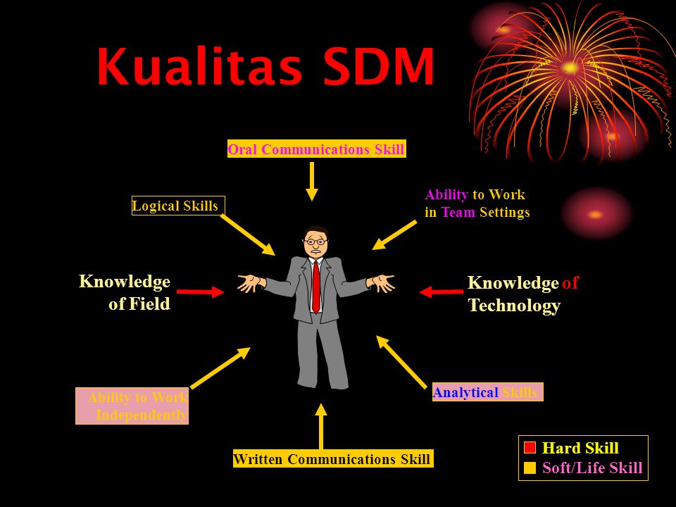 Written Communications Skill Ability to Work Independently Ability to Work in Team Settings Analytical Skills Logical Skills Knowledge of Technology Knowledge of Field Oral Communications Skill Kualitas SDM Hard Skill Soft/Life Skill