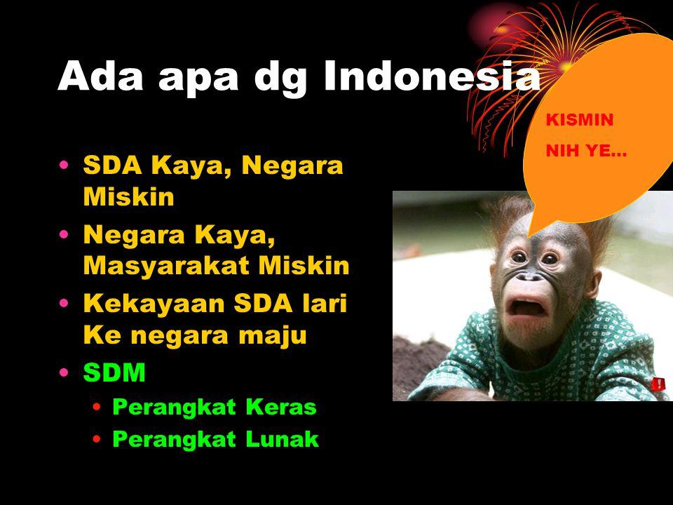 Ada apa dg Indonesia SDA Kaya, Negara Miskin Negara Kaya, Masyarakat Miskin Kekayaan SDA lari Ke negara maju SDM Perangkat Keras Perangkat Lunak KISMIN NIH YE…