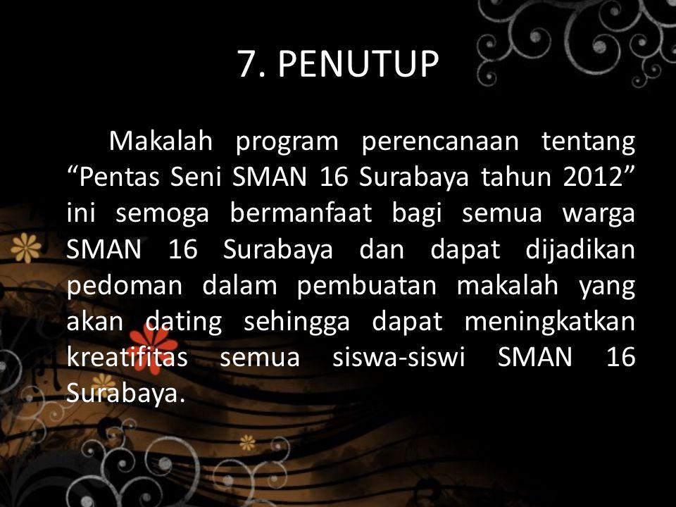 """7. PENUTUP Makalah program perencanaan tentang """"Pentas Seni SMAN 16 Surabaya tahun 2012"""" ini semoga bermanfaat bagi semua warga SMAN 16 Surabaya dan d"""