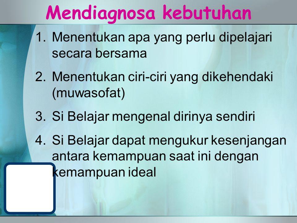 Mendiagnosa kebutuhan 1.Menentukan apa yang perlu dipelajari secara bersama 2.Menentukan ciri-ciri yang dikehendaki (muwasofat) 3.Si Belajar mengenal