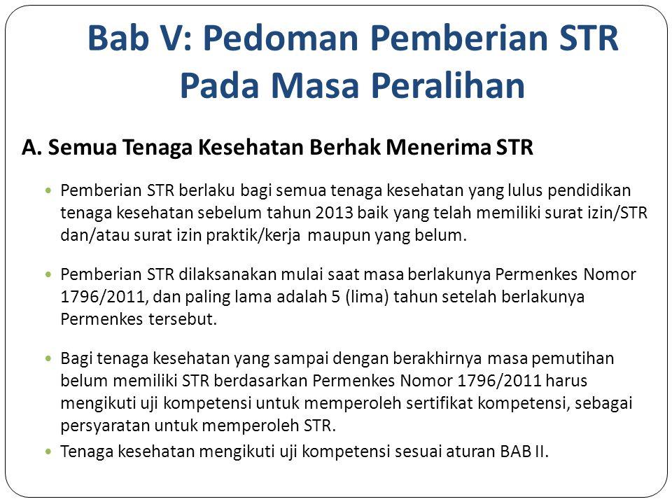 Bab V: Pedoman Pemberian STR Pada Masa Peralihan A.