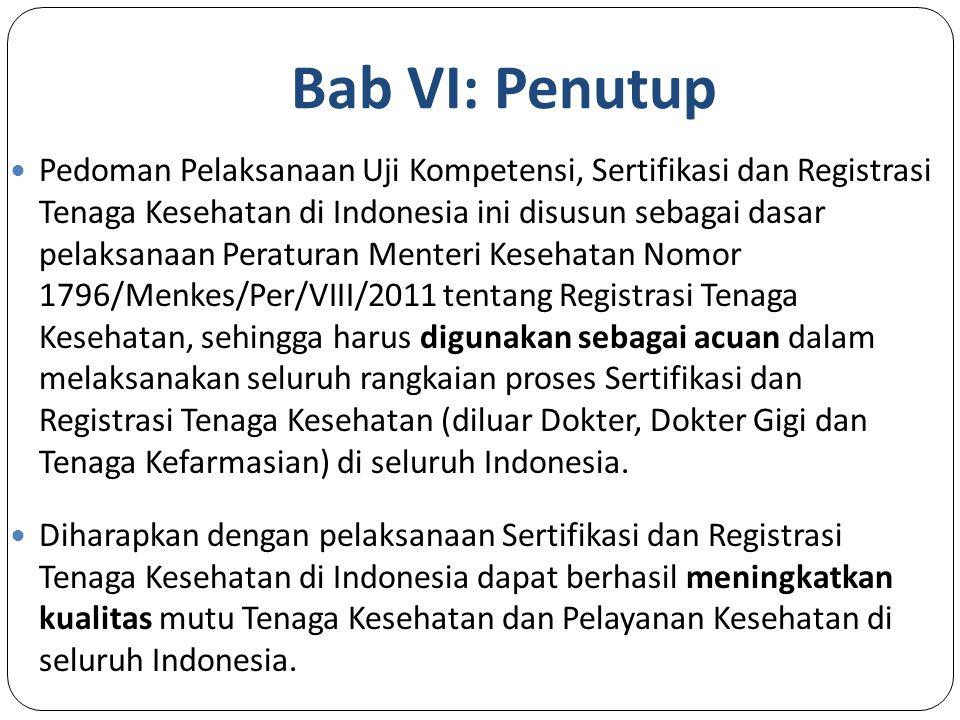 Bab VI: Penutup Pedoman Pelaksanaan Uji Kompetensi, Sertifikasi dan Registrasi Tenaga Kesehatan di Indonesia ini disusun sebagai dasar pelaksanaan Peraturan Menteri Kesehatan Nomor 1796/Menkes/Per/VIII/2011 tentang Registrasi Tenaga Kesehatan, sehingga harus digunakan sebagai acuan dalam melaksanakan seluruh rangkaian proses Sertifikasi dan Registrasi Tenaga Kesehatan (diluar Dokter, Dokter Gigi dan Tenaga Kefarmasian) di seluruh Indonesia.
