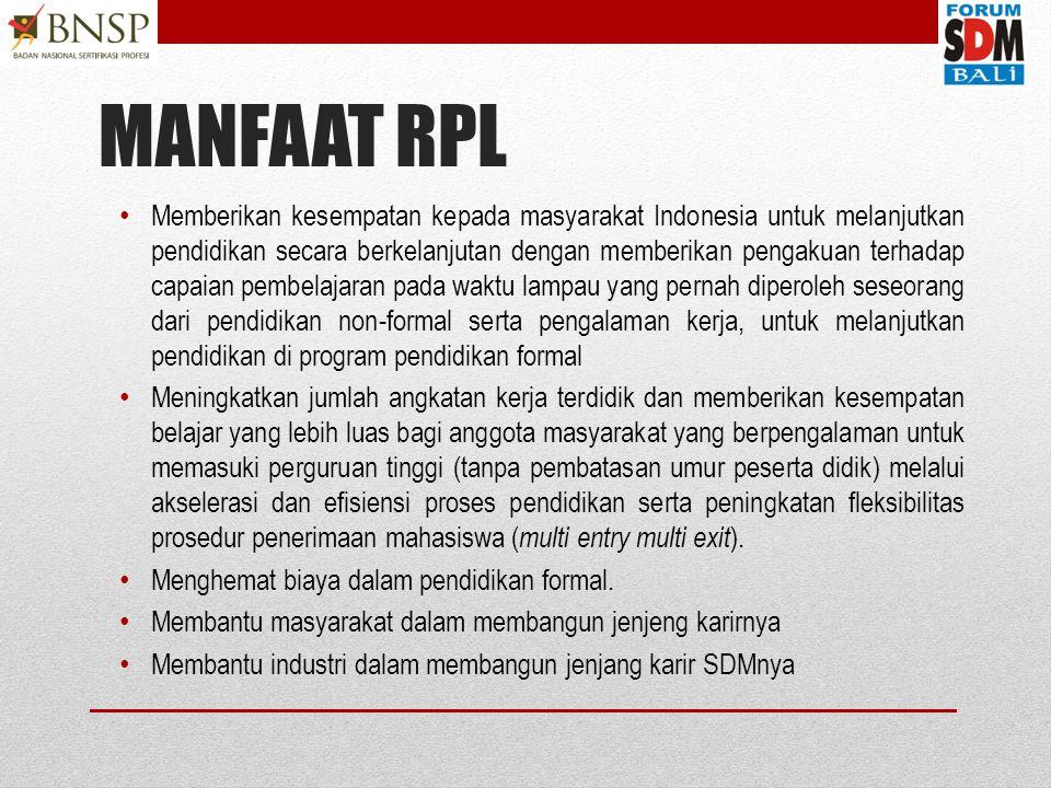 RPL= Rekognisi Pembelajaran Lampau Rekognisi Pembelajaran Lampau (RPL) merupakan proses yang memungkinkan orang untuk mendapatkan pengakuan formal untuk keterampilan dan pengetahuan yang didapat dari pengalaman kerja, pengalaman hidup dan pelatihan formal.