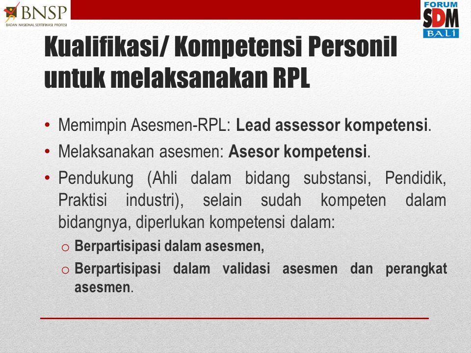 Kelembagaan RPL Kelembagaan asesmen kompetensi  LSP: Pihak 1, Pihak 2, atau pihak 3. Panitia Teknis Uji Kompetensi.