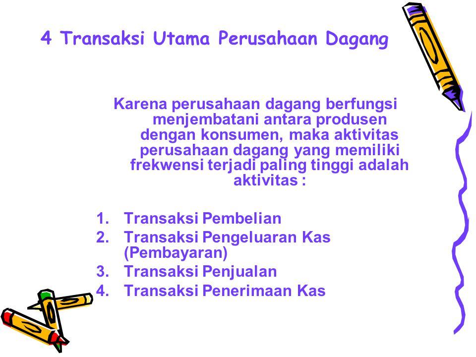 4 Transaksi Utama Perusahaan Dagang Karena perusahaan dagang berfungsi menjembatani antara produsen dengan konsumen, maka aktivitas perusahaan dagang