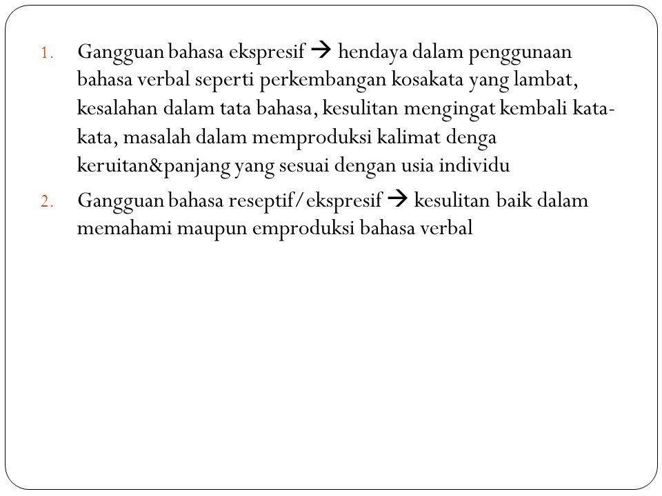 1. Gangguan bahasa ekspresif  hendaya dalam penggunaan bahasa verbal seperti perkembangan kosakata yang lambat, kesalahan dalam tata bahasa, kesulita