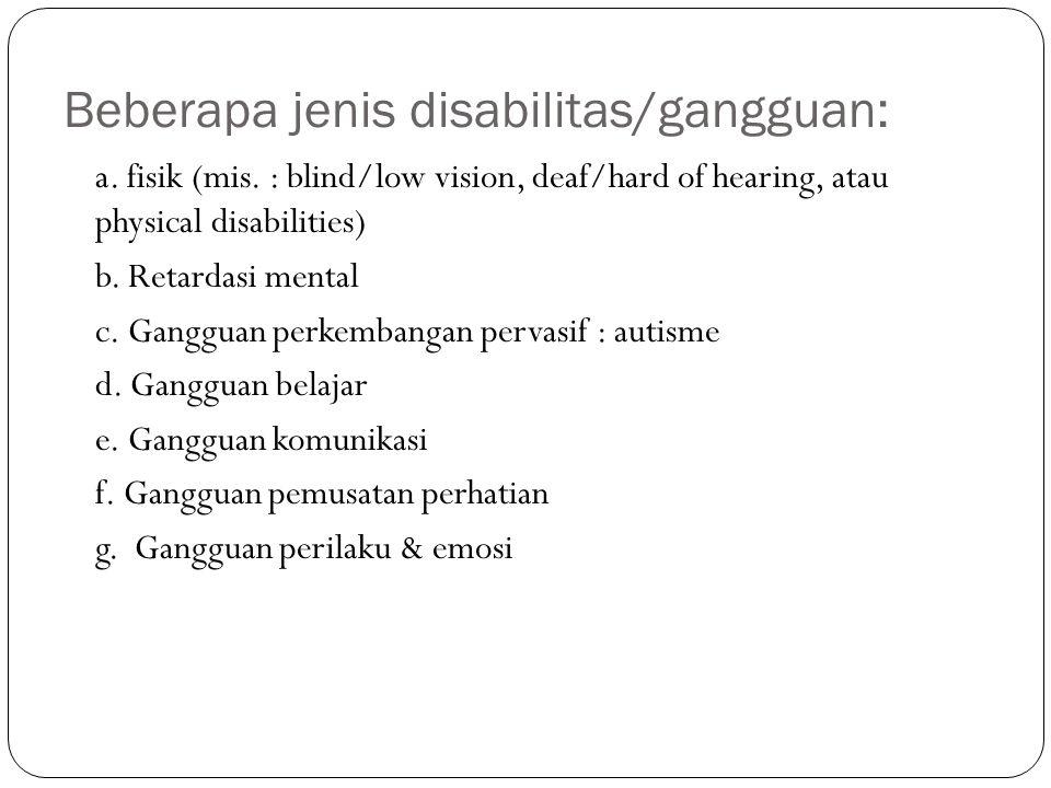 Beberapa jenis disabilitas/gangguan: a.fisik (mis.