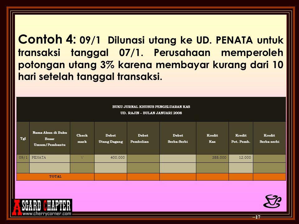 Contoh 4: 09/1Dilunasi utang ke UD. PENATA untuk transaksi tanggal 07/1. Perusahaan memperoleh potongan utang 3% karena membayar kurang dari 10 hari s
