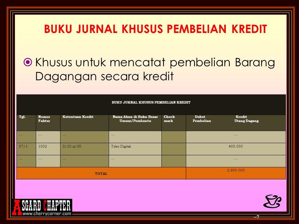 Contoh 5: 28/1Dibeli secara kredit supplies senilai Rp1.000.000 – 18 BUKU JURNAL UMUM UD.