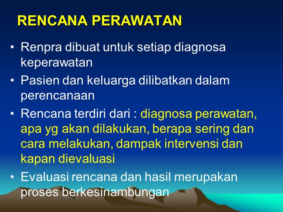 RENCANA PERAWATAN Renpra dibuat untuk setiap diagnosa keperawatan Pasien dan keluarga dilibatkan dalam perencanaan Rencana terdiri dari : diagnosa per