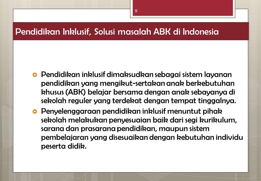 9 Pendidikan Inklusif, Solusi masalah ABK di Indonesia  Pendidikan inklusif dimaksudkan sebagai sistem layanan pendidikan yang mengikut-sertakan anak