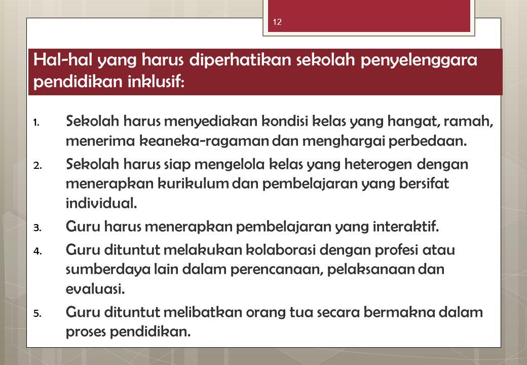 12 Hal-hal yang harus diperhatikan sekolah penyelenggara pendidikan inklusif: 1. Sekolah harus menyediakan kondisi kelas yang hangat, ramah, menerima