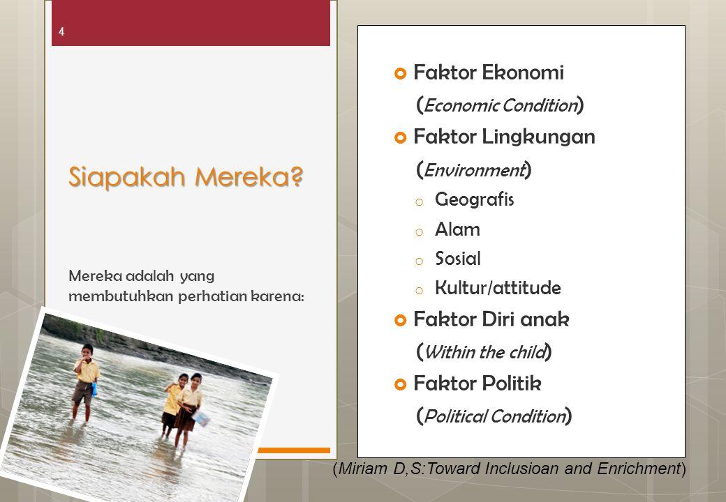 4  Faktor Ekonomi ( Economic Condition )  Faktor Lingkungan ( Environment ) o Geografis o Alam o Sosial o Kultur/attitude  Faktor Diri anak ( Withi