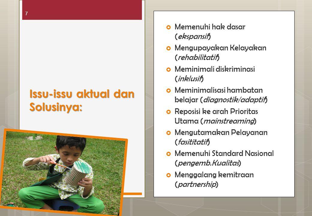 7  Memenuhi hak dasar (ekspansif)  Mengupayakan Kelayakan (rehabilitatif)  Meminimali diskriminasi (inklusif)  Meminimalisasi hambatan belajar (di