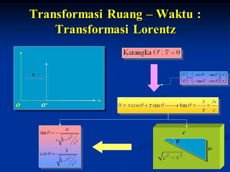 Transformasi Ruang – Waktu : Transformasi Lorentz v O'O iv c 
