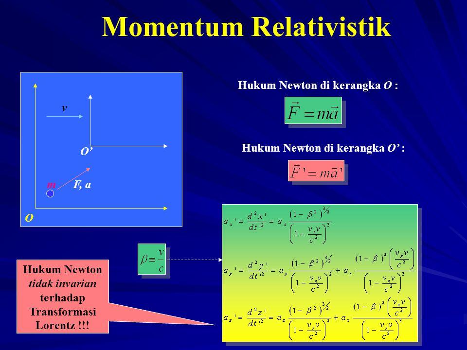 v O' O Hukum Newton di kerangka O : F, a Momentum Relativistik Hukum Newton di kerangka O' : Hukum Newton tidak invarian terhadap Transformasi Lorentz
