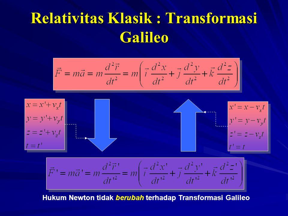Relativitas Klasik : Transformasi Galileo Hukum Newton tidak berubah terhadap Transformasi Galileo