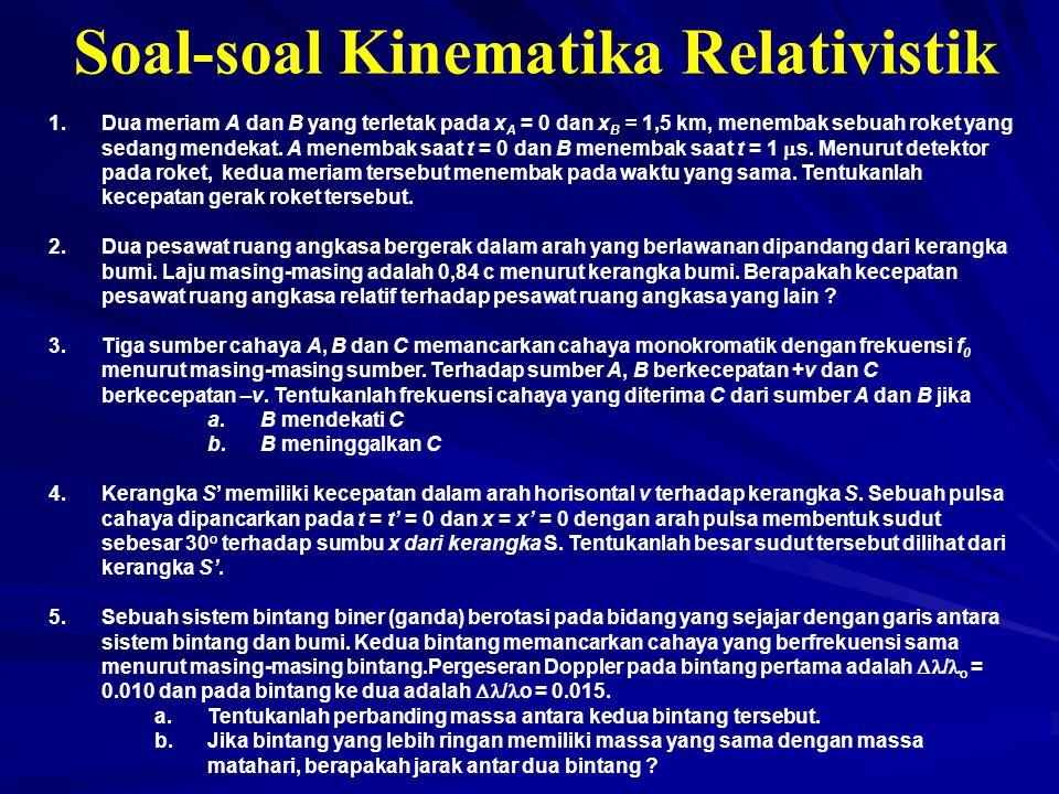 Soal-soal Kinematika Relativistik 1.Dua meriam A dan B yang terletak pada x A = 0 dan x B = 1,5 km, menembak sebuah roket yang sedang mendekat. A mene