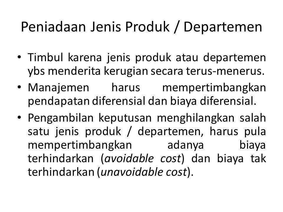 Peniadaan Jenis Produk / Departemen Timbul karena jenis produk atau departemen ybs menderita kerugian secara terus-menerus. Manajemen harus mempertimb