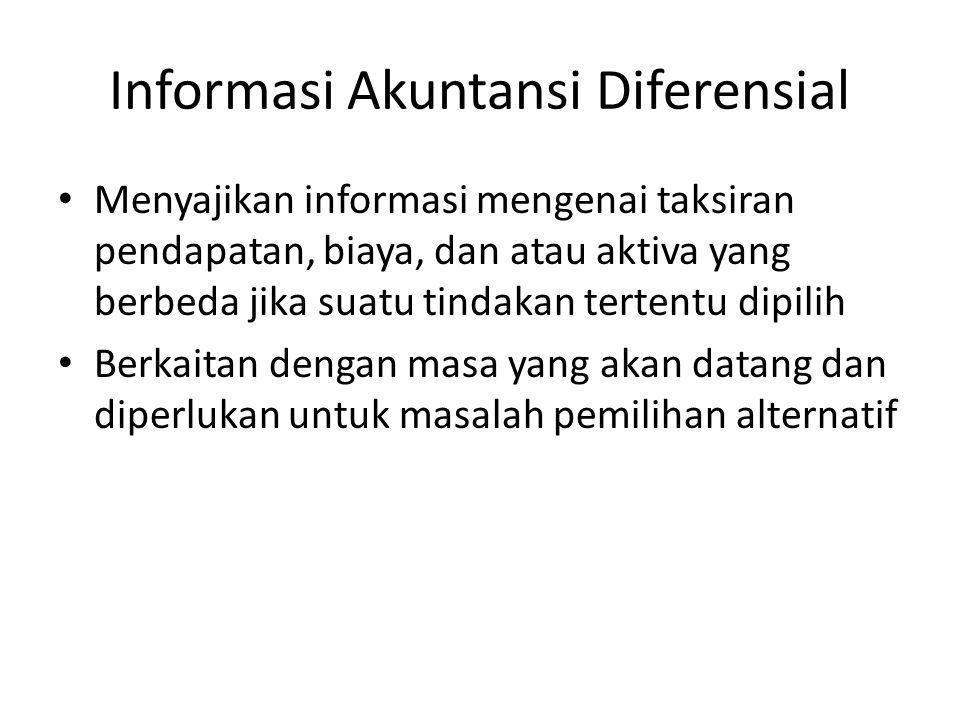 Informasi Akuntansi Diferensial Menyajikan informasi mengenai taksiran pendapatan, biaya, dan atau aktiva yang berbeda jika suatu tindakan tertentu di