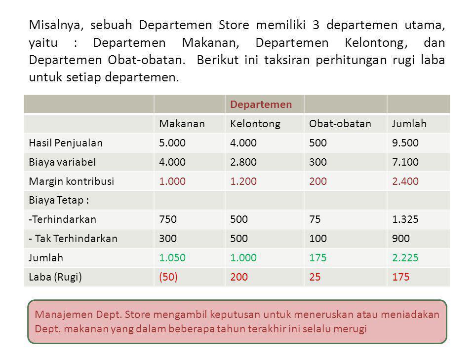 Misalnya, sebuah Departemen Store memiliki 3 departemen utama, yaitu : Departemen Makanan, Departemen Kelontong, dan Departemen Obat-obatan. Berikut i