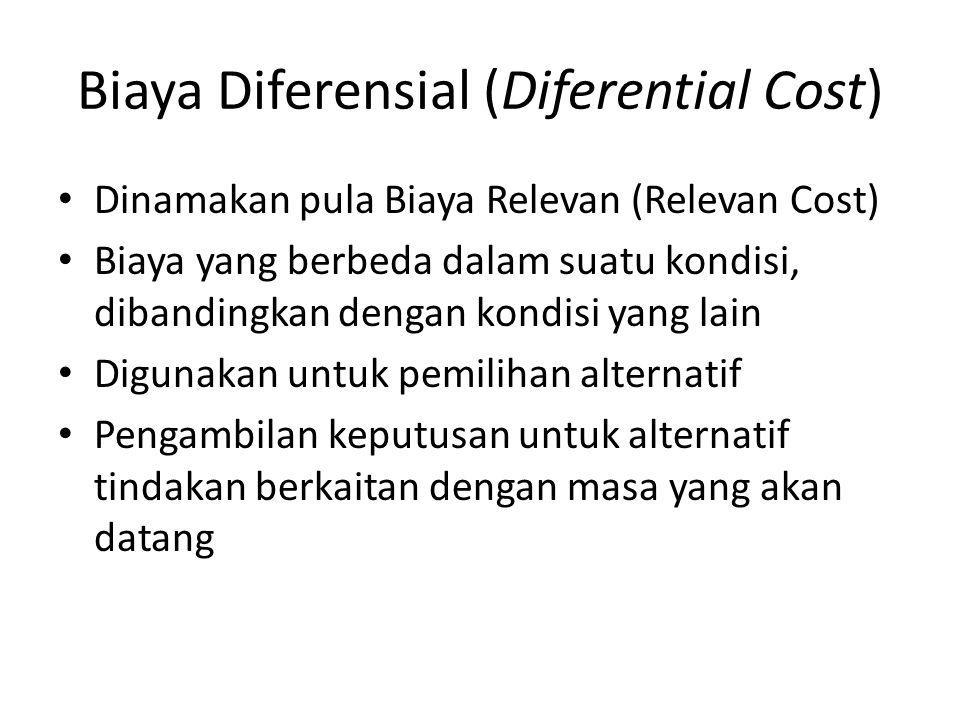 Biaya Diferensial (Diferential Cost) Dinamakan pula Biaya Relevan (Relevan Cost) Biaya yang berbeda dalam suatu kondisi, dibandingkan dengan kondisi y