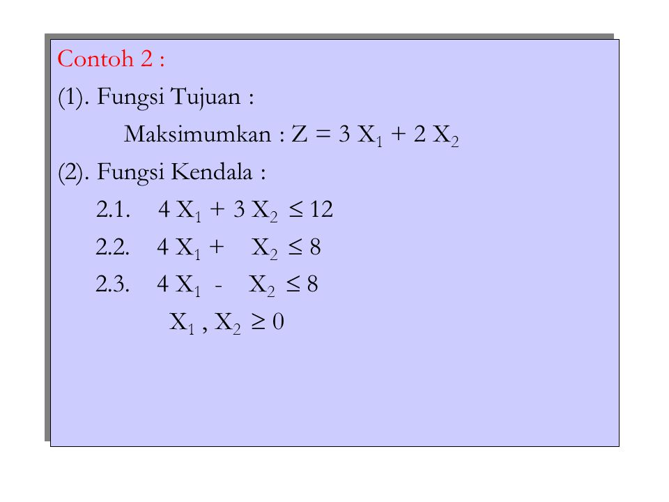 Contoh 2 : (1). Fungsi Tujuan : Maksimumkan : Z = 3 X 1 + 2 X 2 (2). Fungsi Kendala : 2.1. 4 X 1 + 3 X 2  12 2.2. 4 X 1 + X 2  8 2.3. 4 X 1 - X 2 