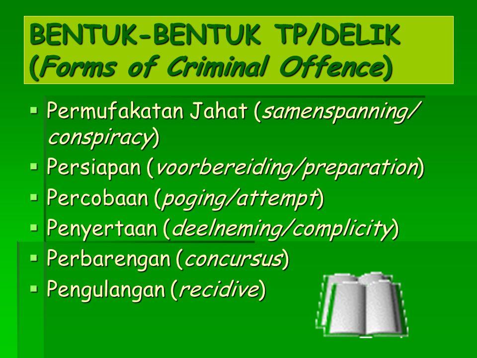 BENTUK-BENTUK TP/DELIK (Forms of Criminal Offence)  Permufakatan Jahat (samenspanning/ conspiracy)  Persiapan (voorbereiding/preparation)  Percobaa