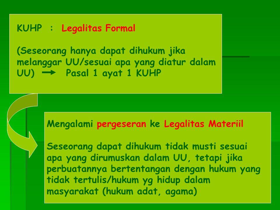 KUHP : Legalitas Formal (Seseorang hanya dapat dihukum jika melanggar UU/sesuai apa yang diatur dalam UU) Pasal 1 ayat 1 KUHP Mengalami pergeseran ke