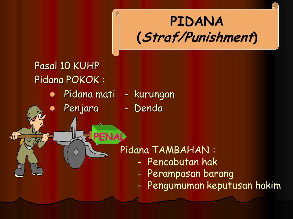 Pasal 10 KUHP Pidana POKOK : Pidana mati - kurungan Pidana mati - kurungan Penjara - Denda Penjara - Denda PIDANA (Straf/Punishment) PENAL Pidana TAMB