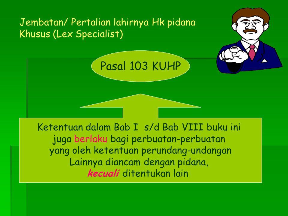 Pasal 103 KUHP Ketentuan dalam Bab I s/d Bab VIII buku ini juga berlaku bagi perbuatan-perbuatan yang oleh ketentuan perundang-undangan Lainnya dianca