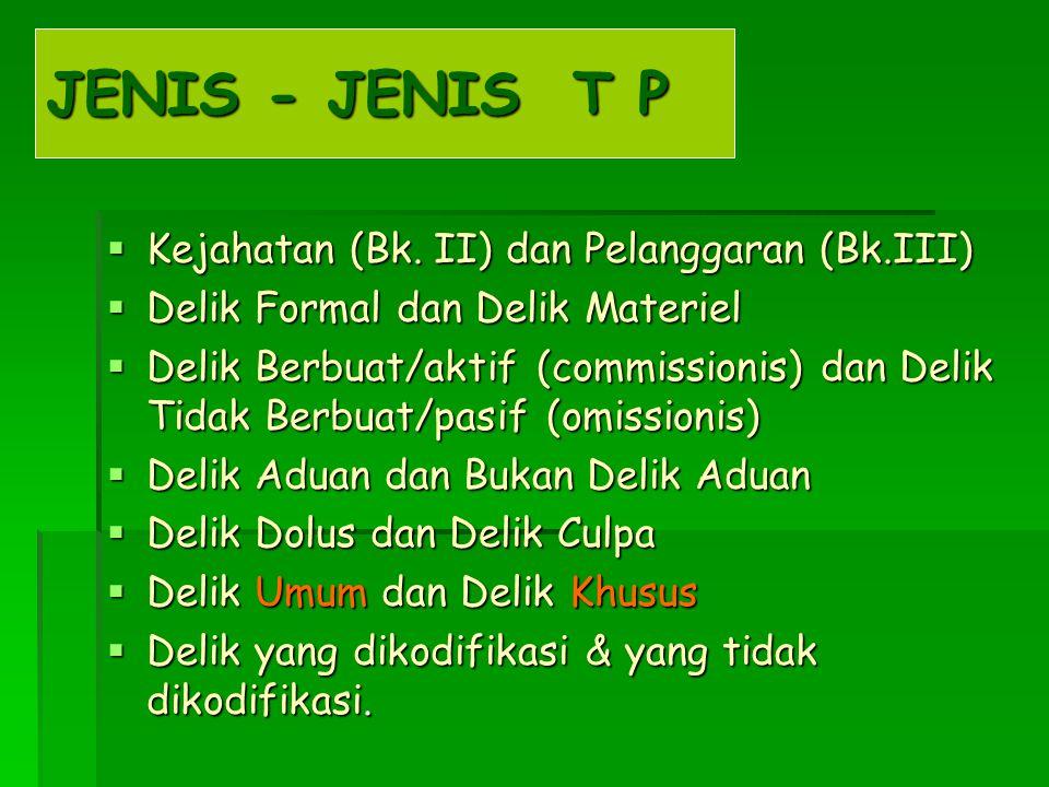 JENIS - JENIS T P  Kejahatan (Bk. II) dan Pelanggaran (Bk.III)  Delik Formal dan Delik Materiel  Delik Berbuat/aktif (commissionis) dan Delik Tidak