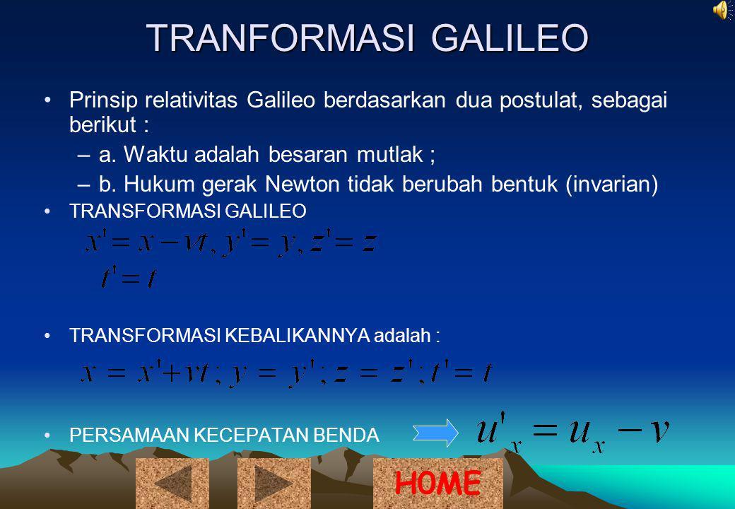 TRANFORMASI GALILEO Prinsip relativitas Galileo berdasarkan dua postulat, sebagai berikut : –a.