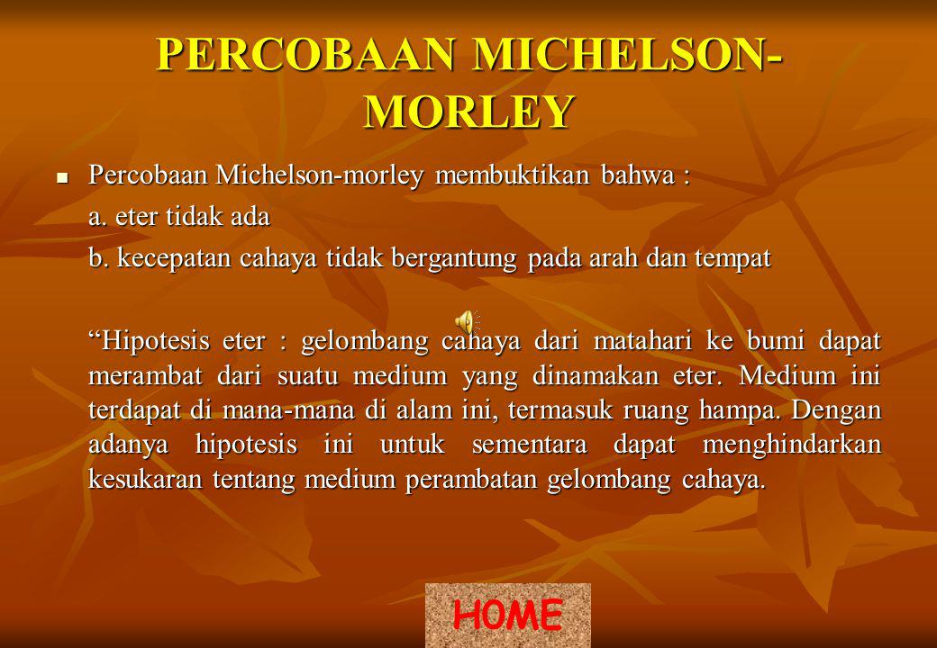 PERCOBAAN MICHELSON- MORLEY Percobaan Michelson-morley membuktikan bahwa : Percobaan Michelson-morley membuktikan bahwa : a.