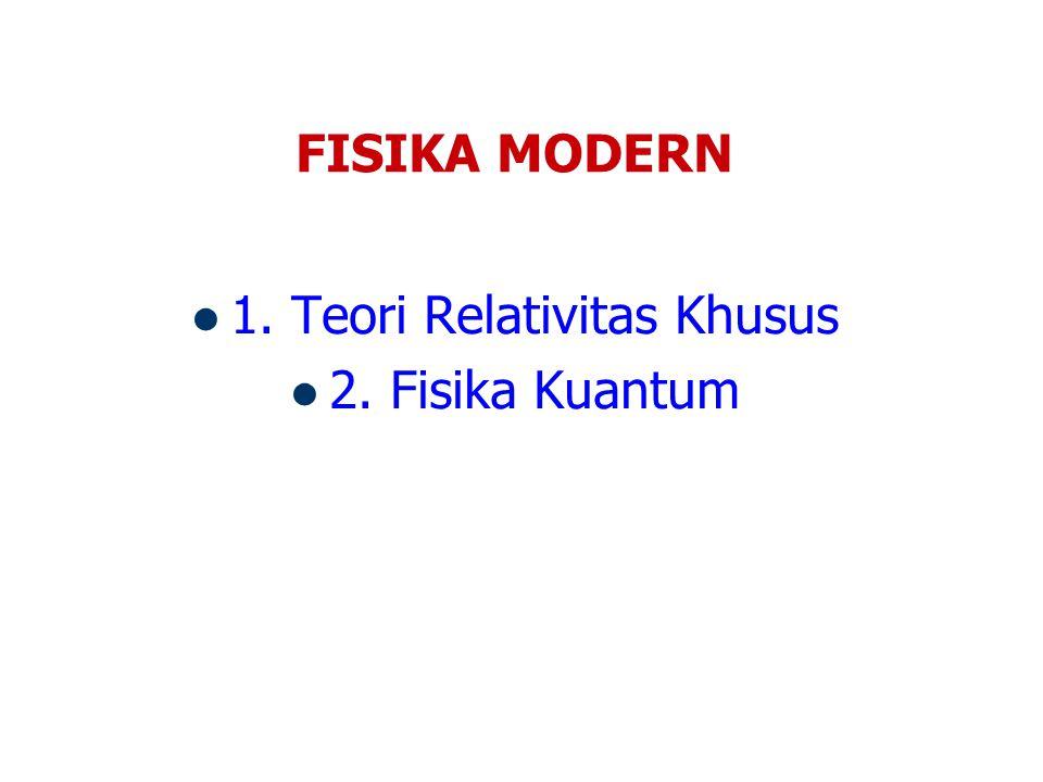 FISIKA MODERN 1. Teori Relativitas Khusus 2. Fisika Kuantum