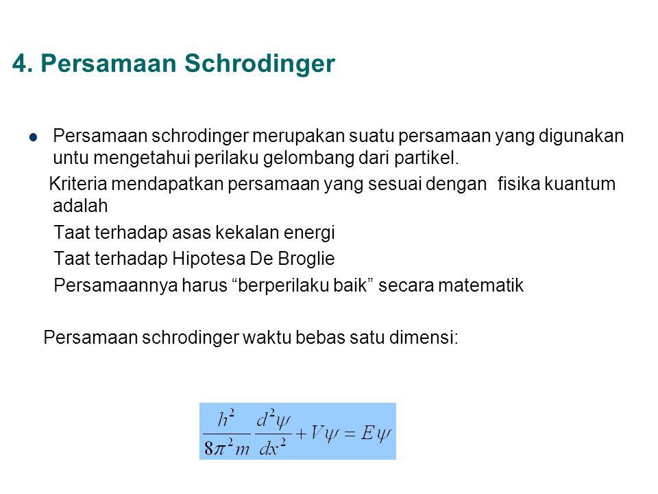 4. Persamaan Schrodinger Persamaan schrodinger merupakan suatu persamaan yang digunakan untu mengetahui perilaku gelombang dari partikel. Kriteria men