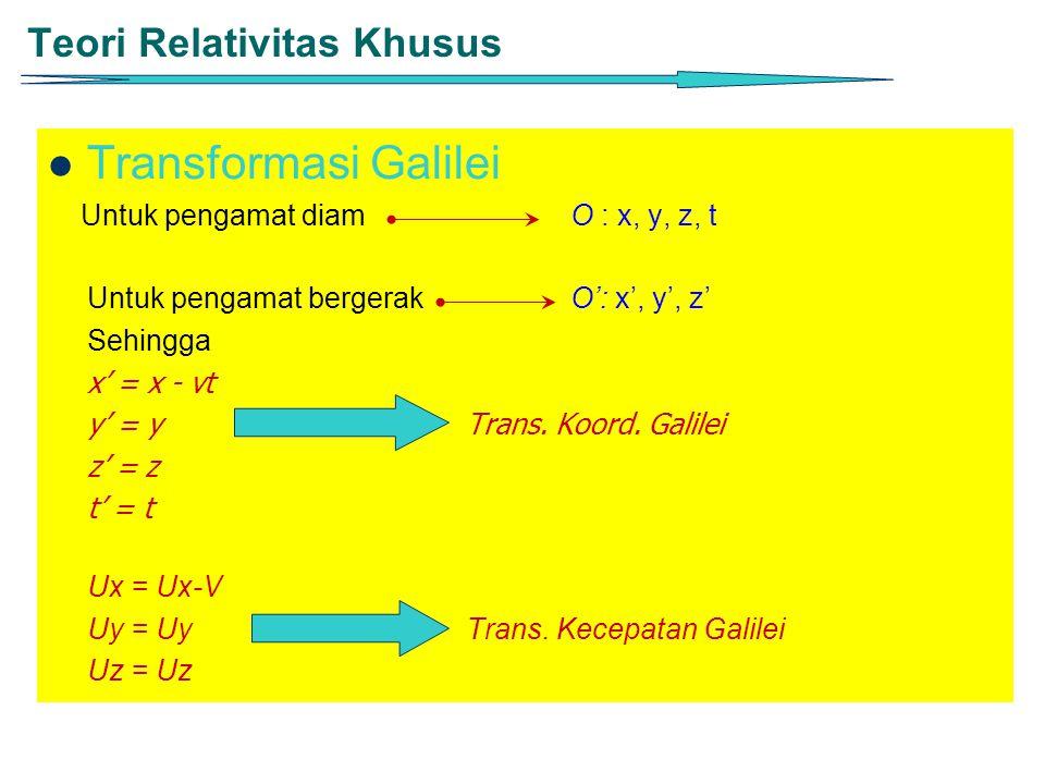 Teori Relativitas Khusus Transformasi Galilei Untuk pengamat diam O : x, y, z, t Untuk pengamat bergerak O': x', y', z' Sehingga x' = x - vt y' = y Tr