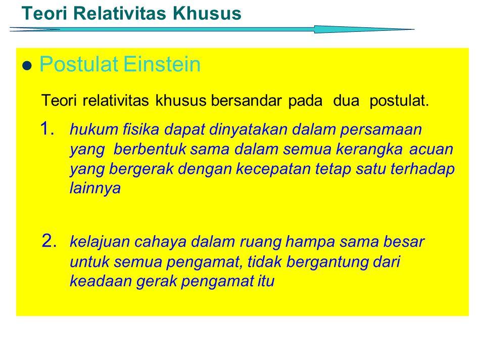 Teori Relativitas Khusus Postulat Einstein Teori relativitas khusus bersandar pada dua postulat. 1. hukum fisika dapat dinyatakan dalam persamaan yang