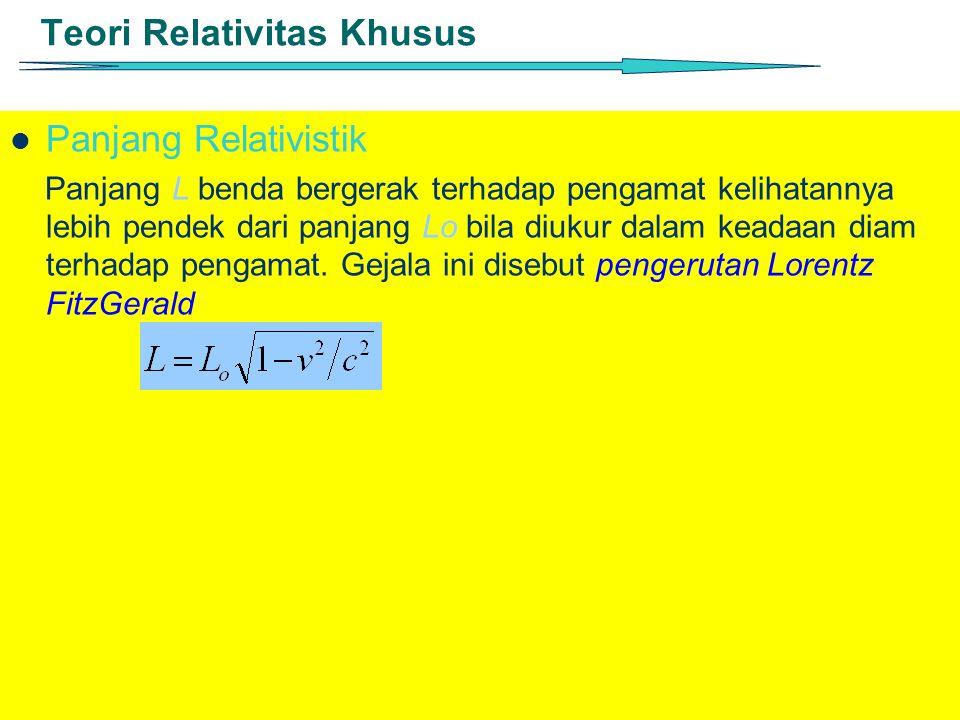 Teori Relativitas Khusus Panjang Relativistik Panjang L benda bergerak terhadap pengamat kelihatannya lebih pendek dari panjang Lo bila diukur dalam k