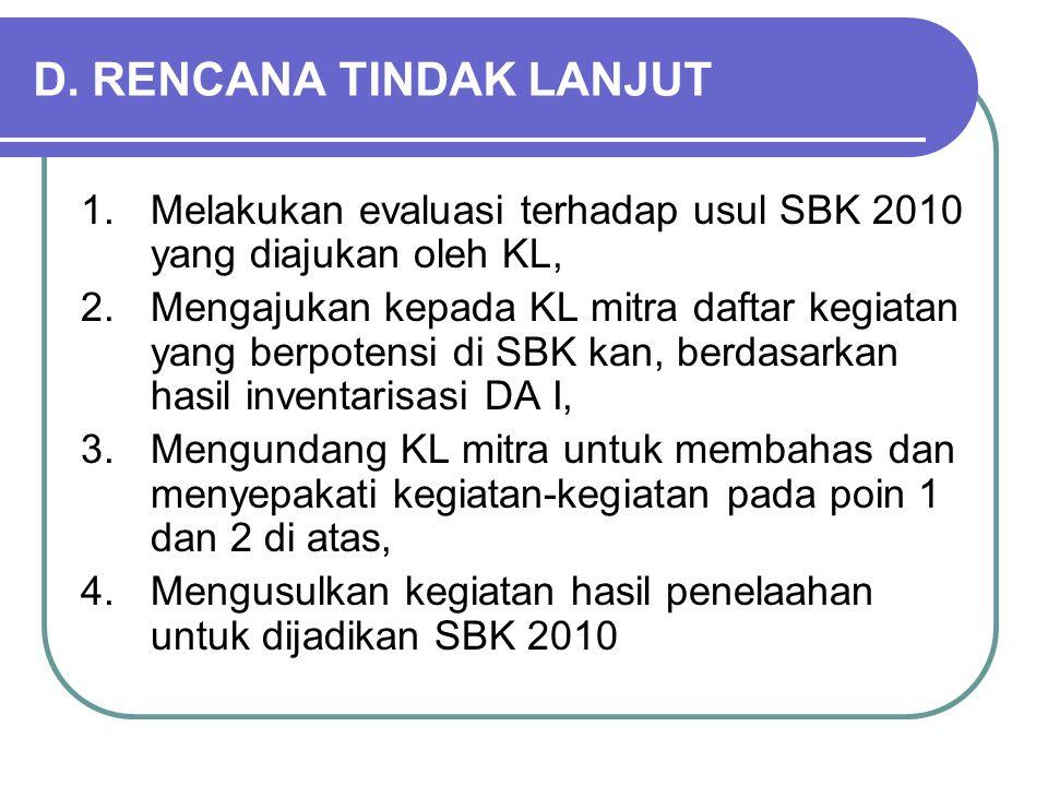 D. RENCANA TINDAK LANJUT 1.Melakukan evaluasi terhadap usul SBK 2010 yang diajukan oleh KL, 2.Mengajukan kepada KL mitra daftar kegiatan yang berpoten