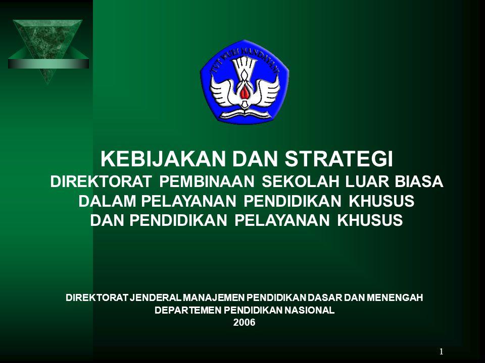 TABEL 3 DATA TINGKAT SEKOLAH DASAR LUAR BIASA INDONESIA NOKOMPONENSATUAN DATA 2000200120022003 1.a.