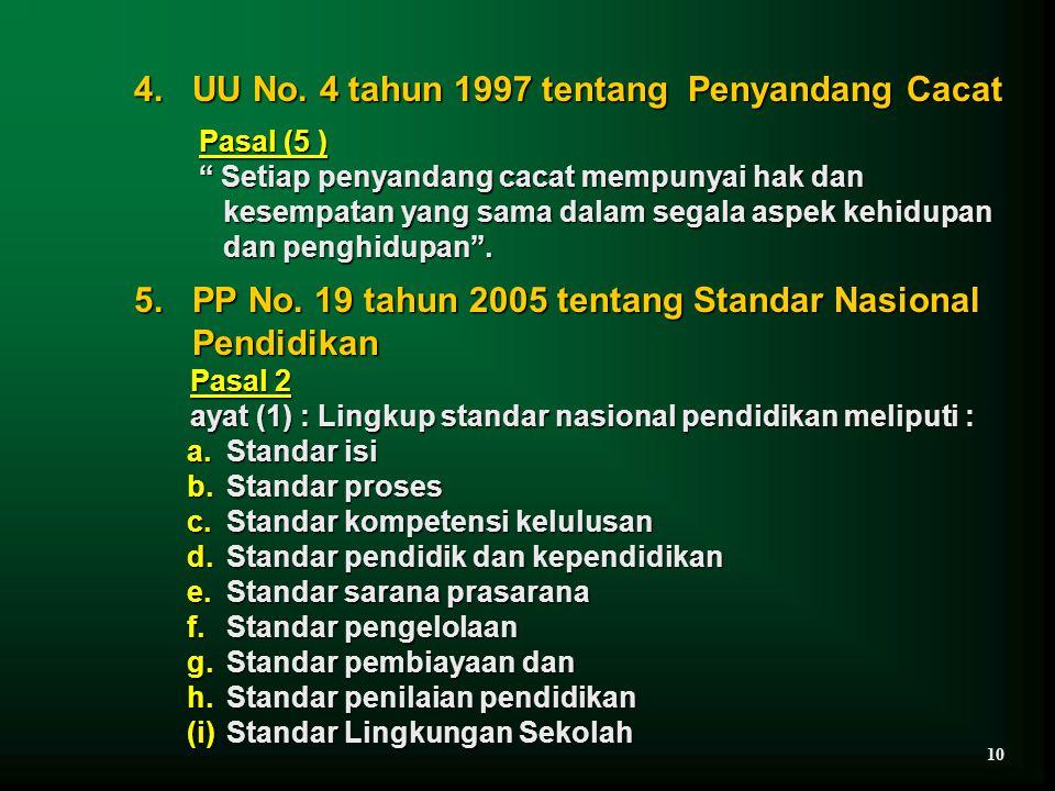 "4. UU No. 4 tahun 1997 tentang Penyandang Cacat Pasal (5 ) Pasal (5 ) "" Setiap penyandang cacat mempunyai hak dan "" Setiap penyandang cacat mempunyai"