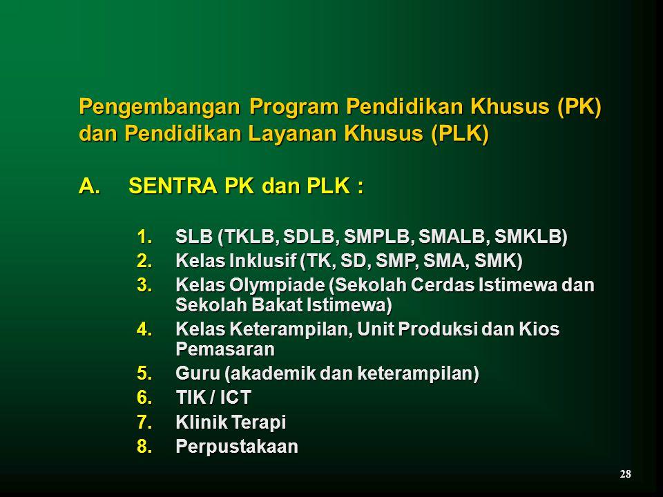 Pengembangan Program Pendidikan Khusus (PK) dan Pendidikan Layanan Khusus (PLK) A. SENTRA PK dan PLK : 1.SLB (TKLB, SDLB, SMPLB, SMALB, SMKLB) 2.Kelas