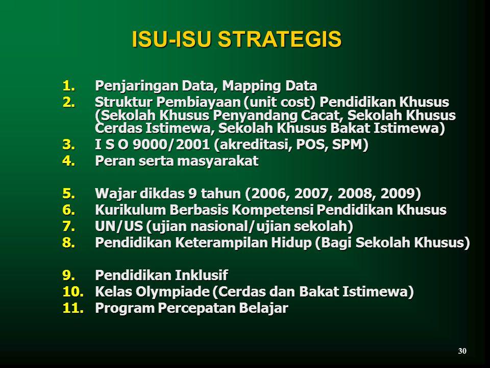 ISU-ISU STRATEGIS 1.Penjaringan Data, Mapping Data 2.Struktur Pembiayaan (unit cost) Pendidikan Khusus (Sekolah Khusus Penyandang Cacat, Sekolah Khusu