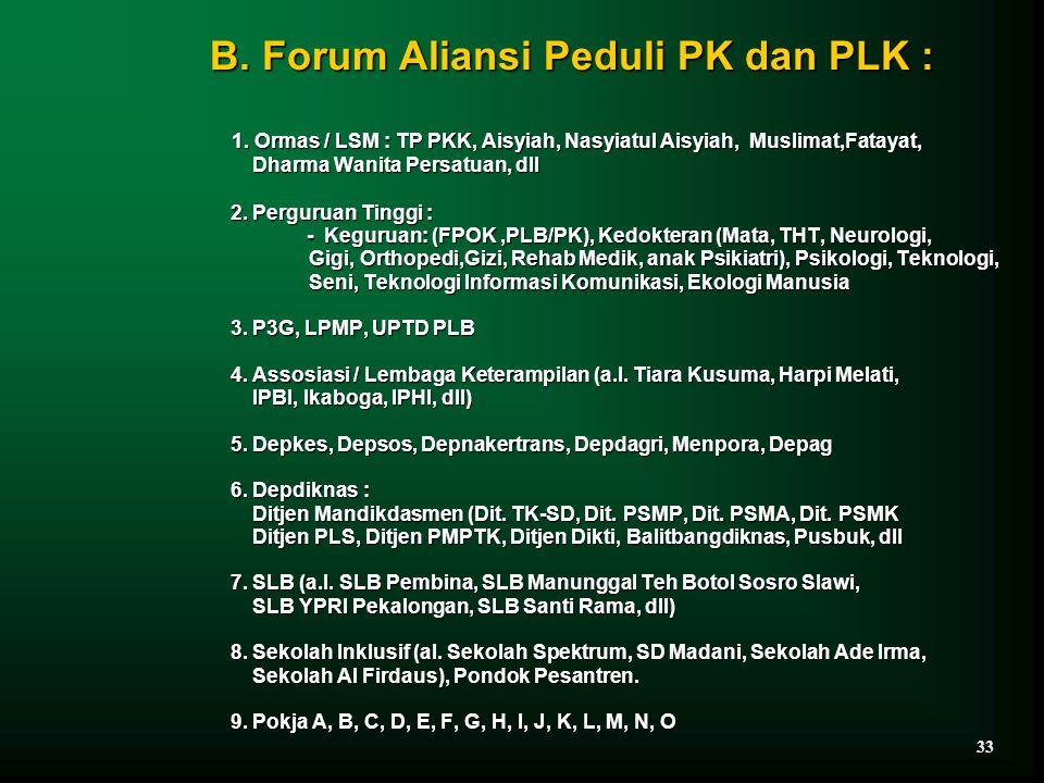 B. Forum Aliansi Peduli PK dan PLK : 1. Ormas / LSM : TP PKK, Aisyiah, Nasyiatul Aisyiah, Muslimat,Fatayat, Dharma Wanita Persatuan, dll Dharma Wanita