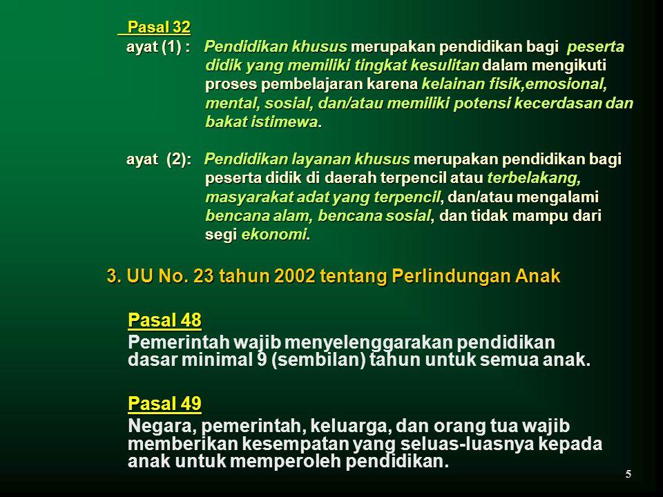 Pasal 32 Pasal 32 ayat (1) : Pendidikan khusus merupakan pendidikan bagi peserta didik yang memiliki tingkat kesulitan dalam mengikuti proses pembelaj