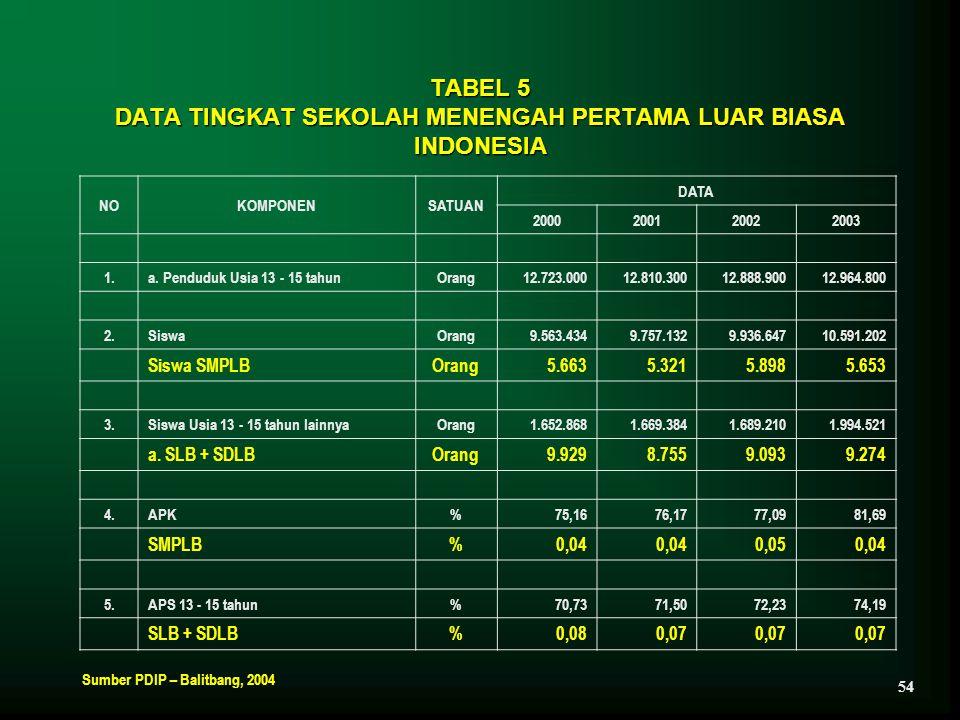 TABEL 5 DATA TINGKAT SEKOLAH MENENGAH PERTAMA LUAR BIASA INDONESIA NOKOMPONENSATUAN DATA 2000200120022003 1.a. Penduduk Usia 13 - 15 tahunOrang12.723.