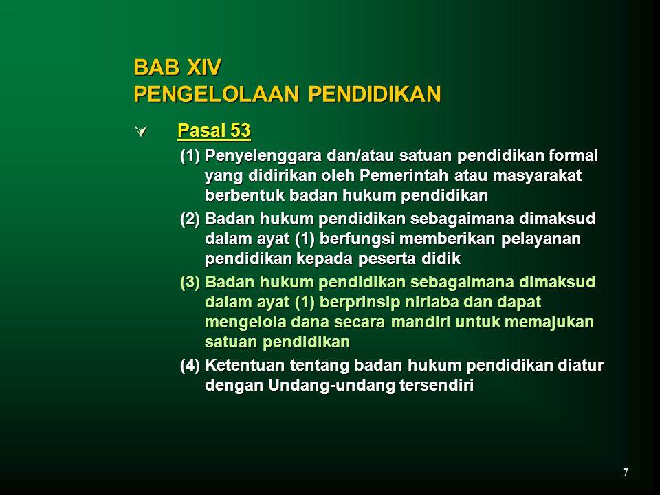BAB XIV PENGELOLAAN PENDIDIKAN  Pasal 53 (1) Penyelenggara dan/atau satuan pendidikan formal yang didirikan oleh Pemerintah atau masyarakat berbentuk